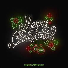 merry christmas in neon vector free download