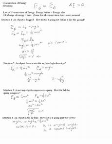 physical science worksheet conservation of energy 1 answers key 13022 mr murray s website work and energy notes