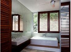 Contemporary Bathroom With Wood Plantation Shutters   HGTV