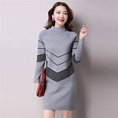 2018 korean fashion women warm knitted sweater dresses autumn winter female half turtleneck long