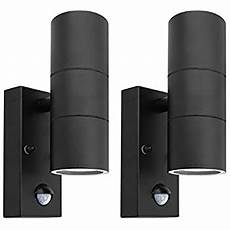 pir stainless steel double outdoor wall light 2 black pir stainless steel double outdoor wall light with movement sensor ip44 up down