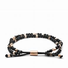 damen armband black beaded fossil
