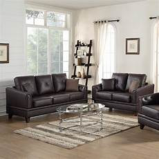 genuine leather 2 pieces sofa set in brown in living room