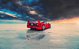 Red Ferrari F40 Rear Angle Wallpapers