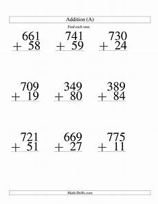 3 digit division worksheets printable 6922 three digit plus two digit addition 9 questions a large print math worksheet