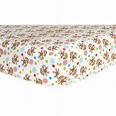 trend lab monkey scatter print flannel deluxe flannel fitted crib sheet