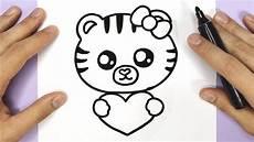 Bilder Zum Nachmalen Kawaii Baby Tiger Mit Herzen Malen Kawaii Bilder