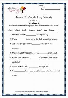 grade 3 vocabulary worksheets week 13 lets share knowledge