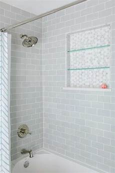 shower with gray subway tiles transitional bathroom