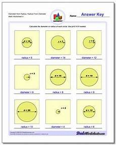 basic geometry worksheets with answers 639 circles diameter and radius