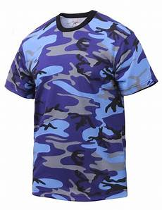 electric blue camouflage t shirt
