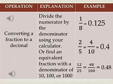 converting fractions decimals and percents