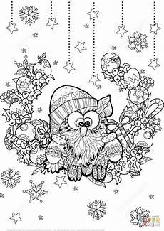 owl zentangle coloring page free printable
