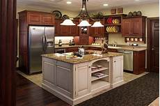 Decorating Ideas Cherry Cabinets by Cherry Cabinet White Island Tile Floor Kitchen