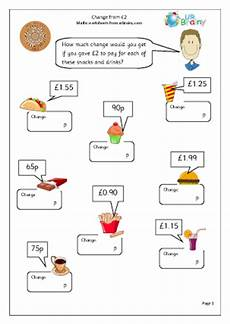 money worksheets ks2 giving change 2208 change from 2 pounds money maths worksheets for year 3 age 7 8