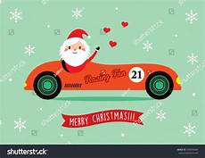 cute santa claus ride vintage racing car merry christmas greeting card vector 509596984
