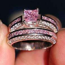 pink wedding rings brand pink sapphire diamonique 10kt white gold gf wedding