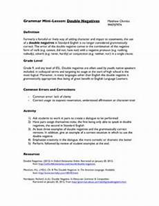 double negatives 8th 10th grade worksheet lesson planet