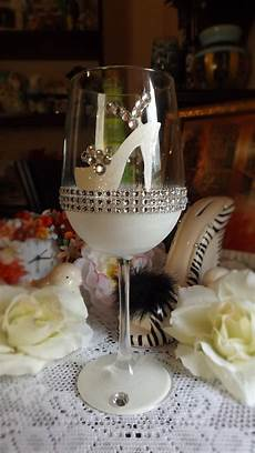 high heel shoe 20 oz wine glass with rhinestones i also