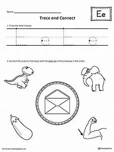 letter e reading worksheets 24118 trace letter e and connect pictures worksheet myteachingstation