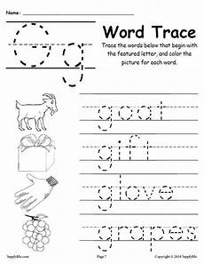 letter g matching worksheets 24631 letter g words alphabet tracing worksheet supplyme