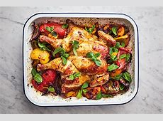 Jamie Oliver's 5 ingredient harissa chicken traybake