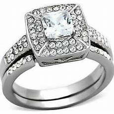s princess halo cz stainless steel wedding engagement 2 ring guard ebay