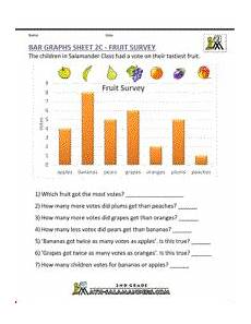 2nd grade bar graph worksheets fruit survey projects