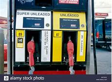 ethanol gasoline pumps at service station stock photo