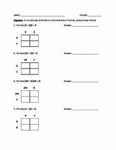 multiplying binomials using box method worksheet or quiz tpt