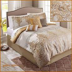 gorgeous 7 piece gold damask embroidered bedding comforter
