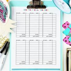monthly bill tracker digital download budgeting printables budgeting monthly budget