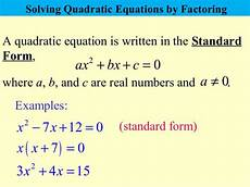 how to write a quadratic equation in standard form quadratic equations that factorise