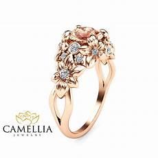 camellia jewelry floral design morganite engagement ring 14k rose