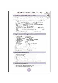 grammar worksheets for advanced esl 25104 worksheet 6 pages of advanced grammar exercises with a key ingles