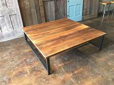 Square Reclaimed Wood Coffee Table Industrial H Shaped