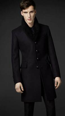 top coats for lyst burberry shearling collar top coat in black for