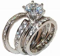 3 piece wedding engagement wedding ring solid 925 sterling silver ebay