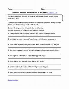 compound sentences worksheet ela literacy l 7 1b language