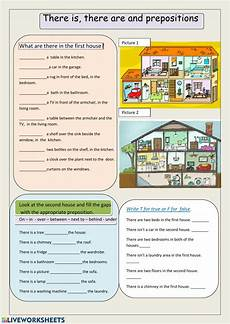 there is there are and prepositions interactive worksheet