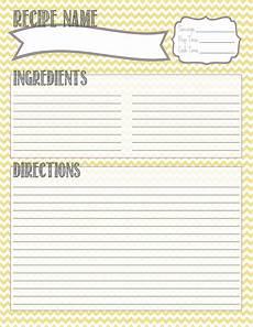 Recipe Card Book Template by Printable Recipe Card Recipe Binder Recipe Card