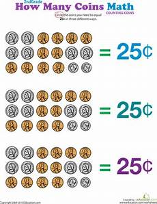 how many coins make 25 cents worksheet education com