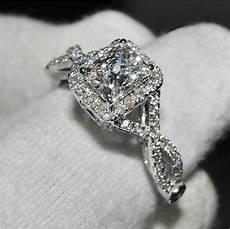 classic princess cut white topaz diamonique 925 silver wedding ring sz 5 11 gift ebay