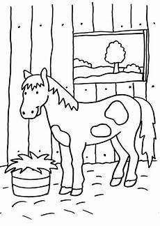 Ausmalbilder Pferde Bunt Ausmalbild Pferde Pferd Im Stall Kostenlos Ausdrucken