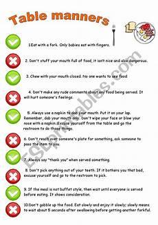 table manners rules esl worksheet by kopciuszek