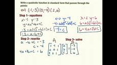write quadratics in standard form from 3 points youtube