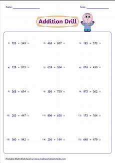 single digit vertical multiplication without regrouping 3 digit addition worksheets