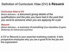 cv curriculum vitae definition