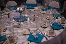 malibu blue and silver table settings centerpieces