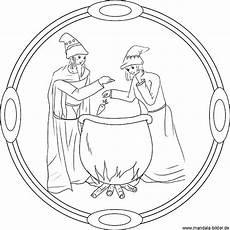 zauberer hexe und hexenkessel mandala und ausmalbild